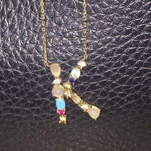 Anthropologie Gemstone Initial/Letter K Necklace